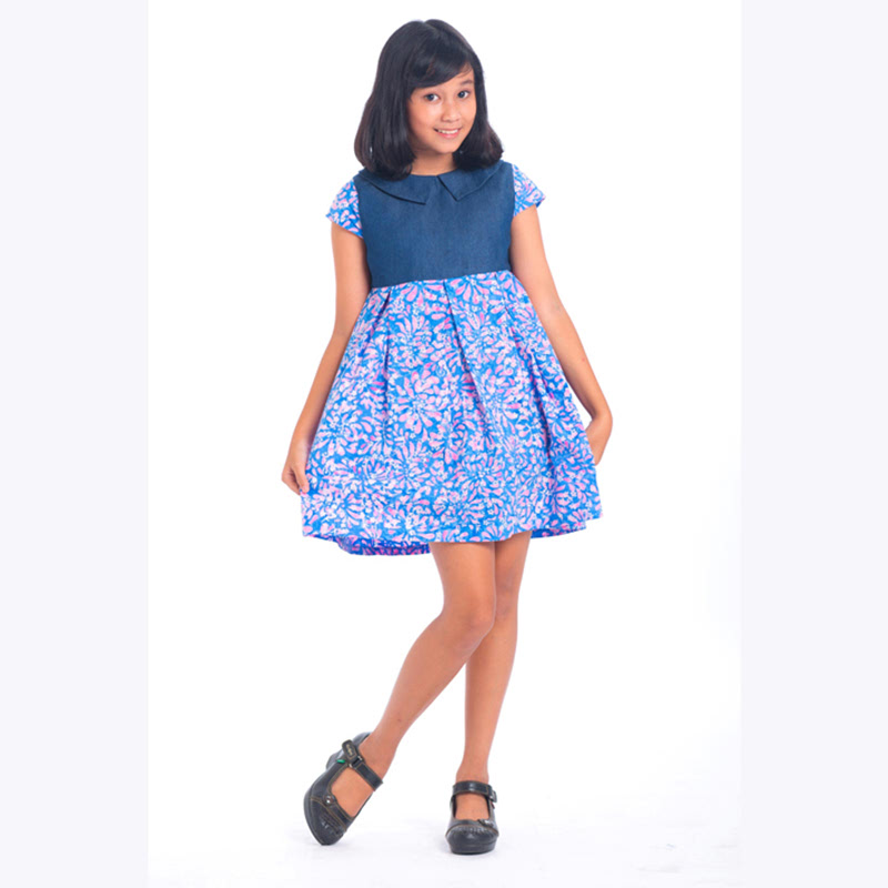 (7-11) Short Sleeve Mix Denim Dress 009