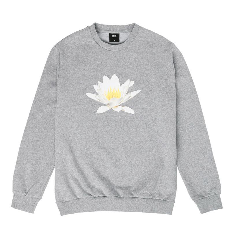 Akiii Classic Flower Man-To-Man Tshirt Series - Water Lily Gray