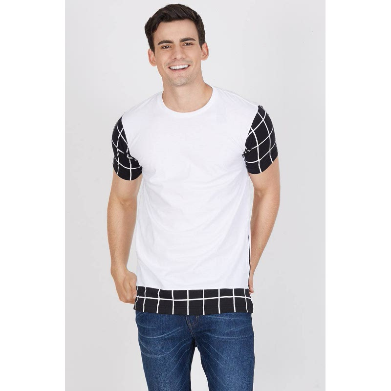 Men Overlaping Plaid Tshirt White