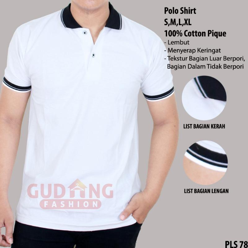 Gudang Fashion Kaos Berkerah Polos Depan Belakang Putih Kerah Hitam Ilotte