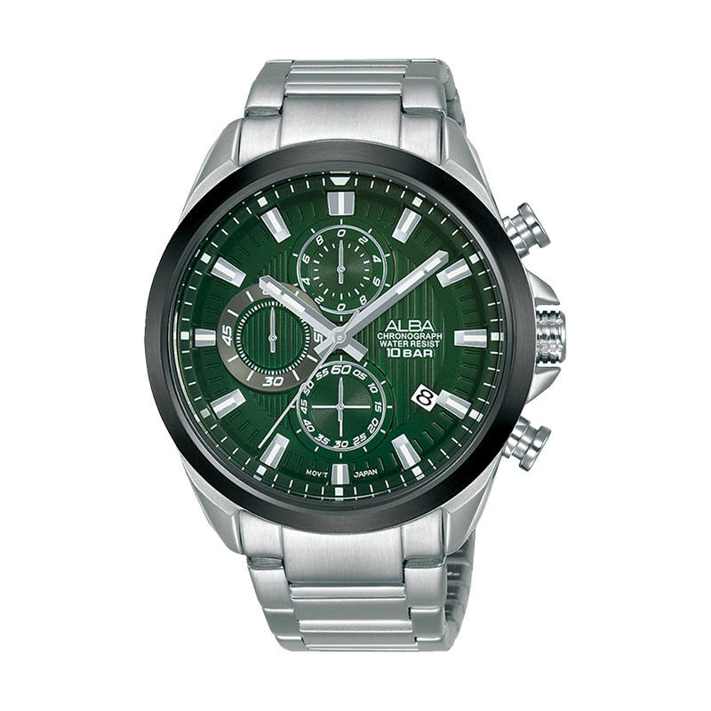 Alba AM3785X1 Chronograph Green Pattern Dial Stainless Steel Strap