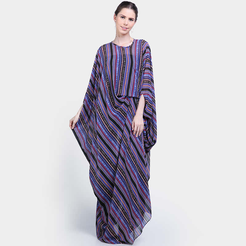 Basa Naila Kaftan Printed Chifon Purple
