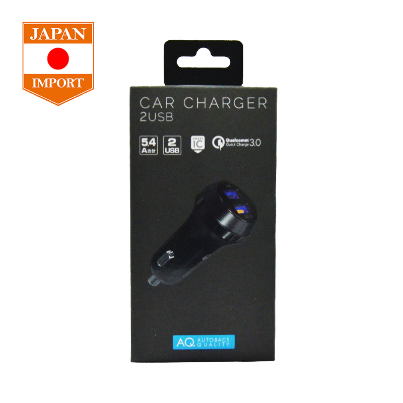 AQ USB Car Charger 2 Port 5.4A Quick Charge 3.0 [Japan Import] S34 Black
