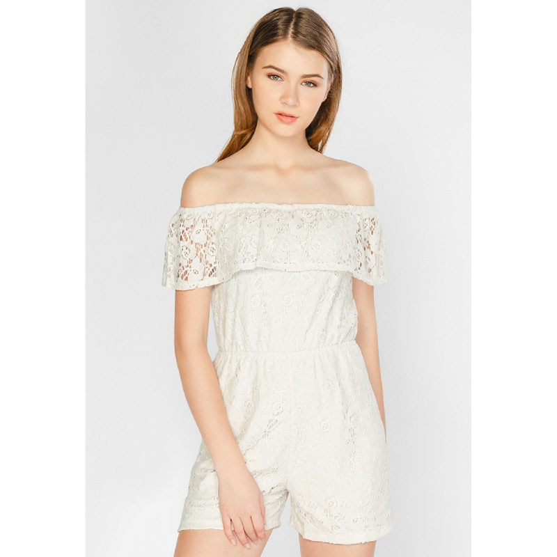 Lovadova Cole Offshoulder Lace Playsuit White