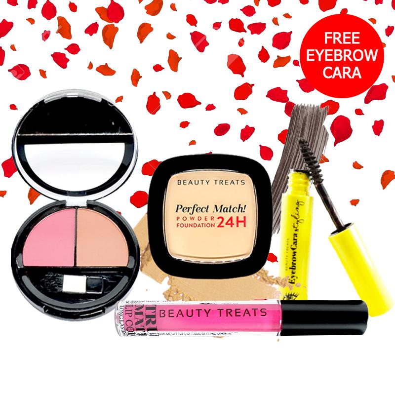Beauty Treats Make Up Set A (Perfect Match Powder Foundation 24H No. 1 + True Matte Lip Color No. 5 + Duo Blush No. 2) FREE Eyebrowcara Dark Grey Brown