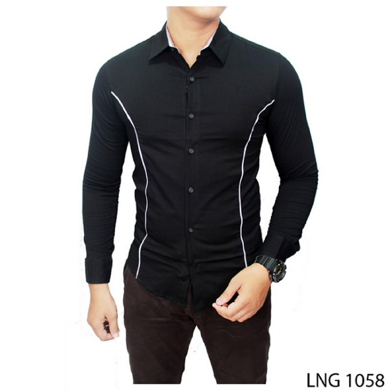 Gudang Fashion Kemeja Pria Lengan Panjang Hitam LNG 1058