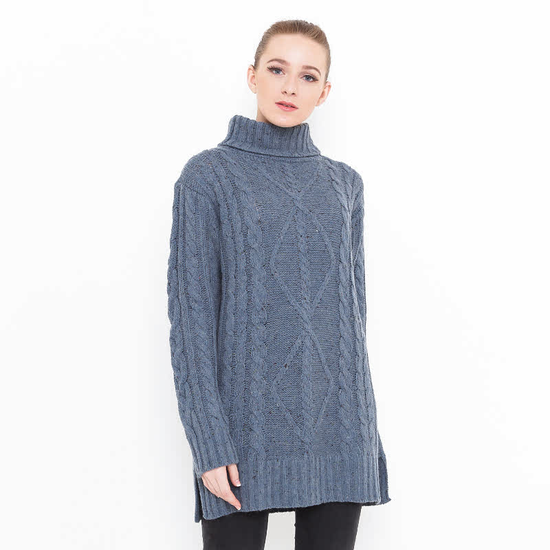 Voyant by Megumi Big Long Chunky Sweater Diamond Blue