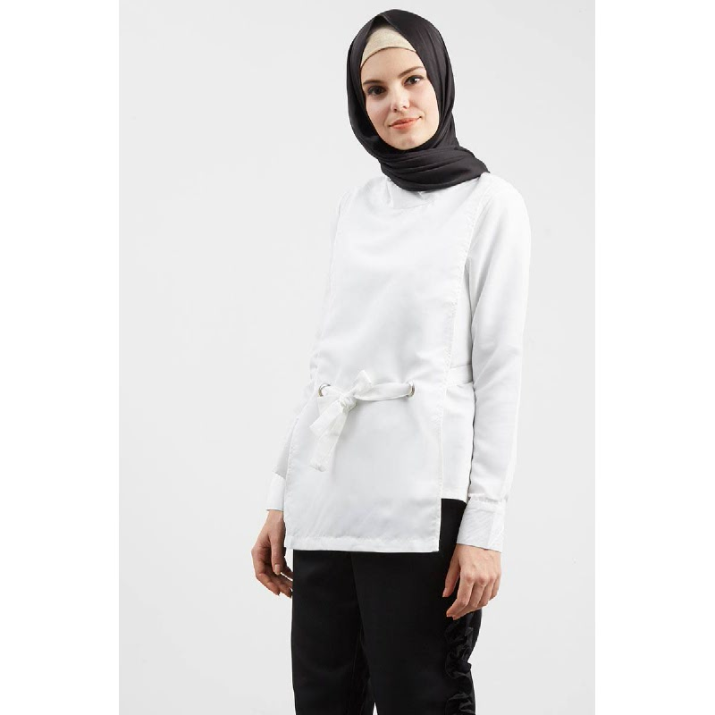 Vera Eyelet Detailed Top White