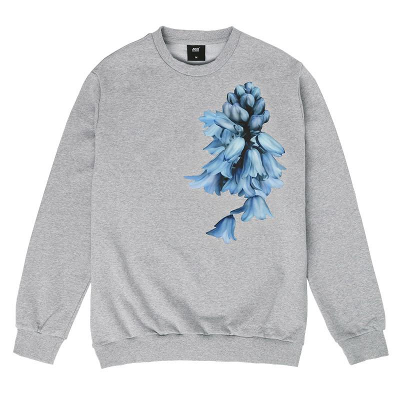 Akiii Classic Flower Man-To-Man Tshirt Series - Bell Flower Gray