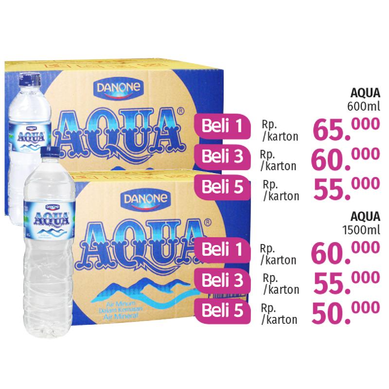 AQUA MINERAL WATER 600 ML KARTON (DAPAT 3)