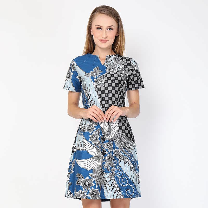 Aksa Batik Jovita Dress Blue
