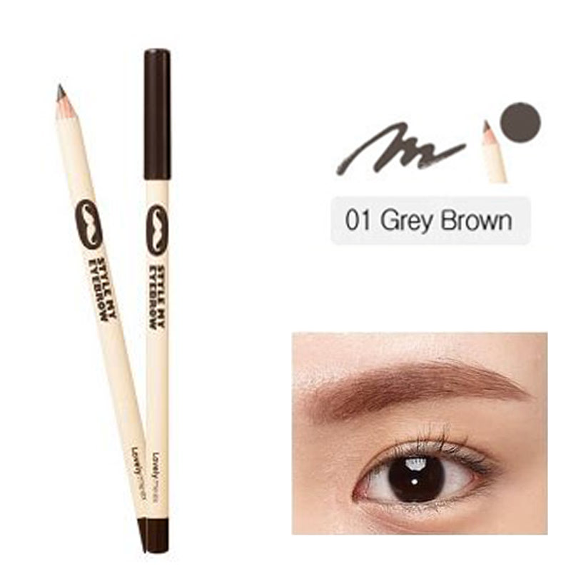 The Face Shop Lovely Me Ex Style Me Eyebrow 01 Grey Brown