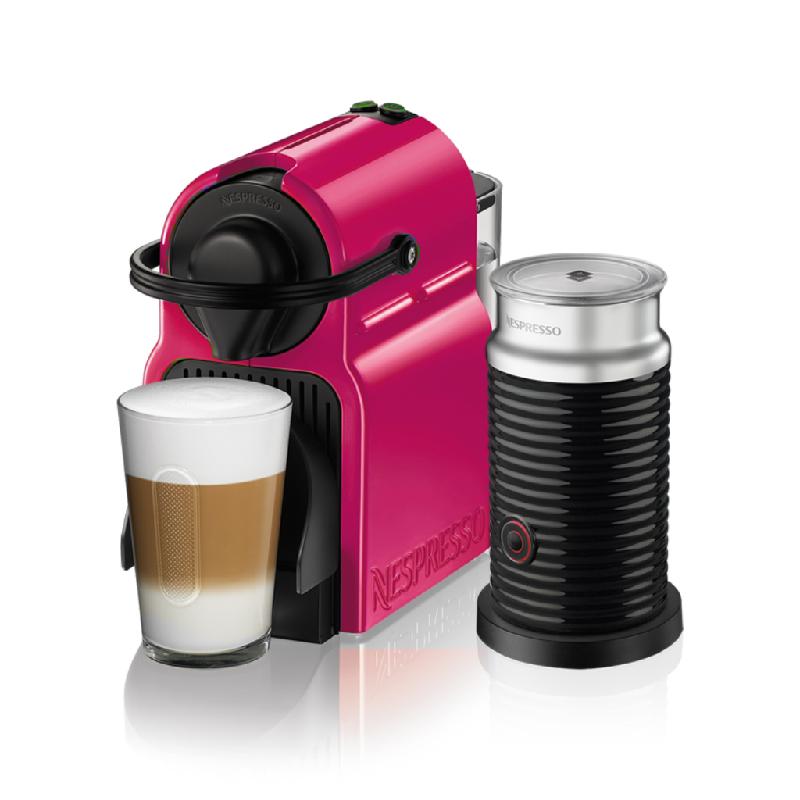 Inissia+Aeroccino C40P Espresso Capsule Coffee Machine Fuschia Velvet + Aerochino (Black)