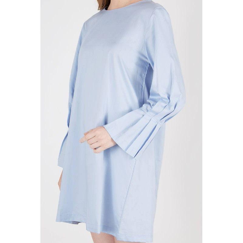 Rovetta Pleats Sleeve Dress Blue