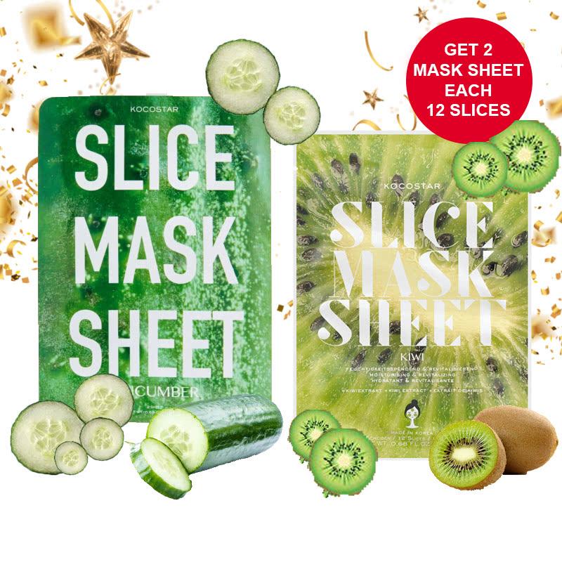 Kocostar Cucumber Slice Mask Sheet 12p + Kocostar Kiwi Slice Mask Sheet 12p