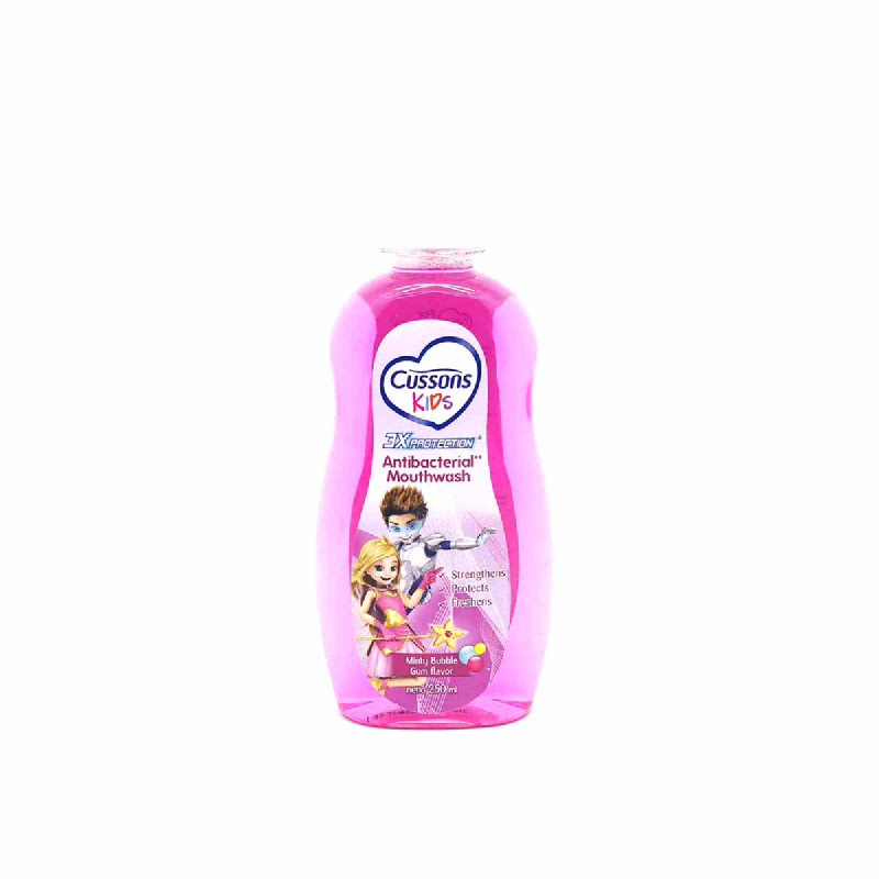 Cussons Kids Antibacterial Mouthwash Mintly Bubble Gum 250 Ml