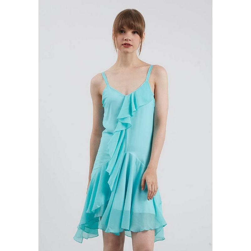 Lovadova Cyan Ruffle Camisole Dress Blue