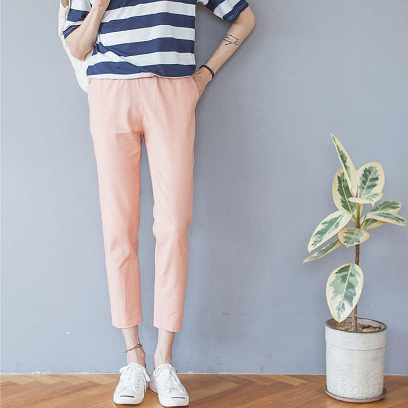 Linen Banding Pants - Pink