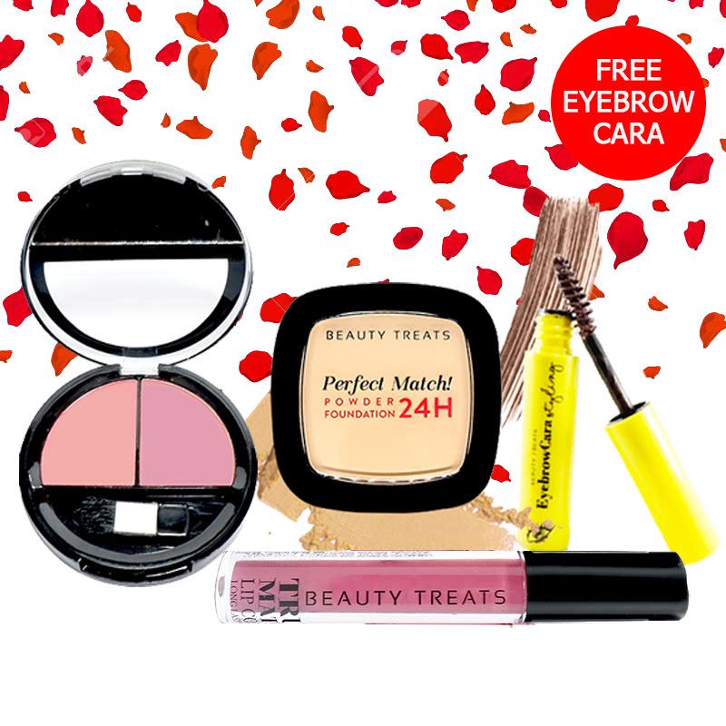 Beauty Treats Make Up Set A (Perfect Match Powder Foundation 24H No. 1 + True Matte Lip Color No. 10 + Duo Blush No. 3) FREE Eyebrowcara Dark Brown