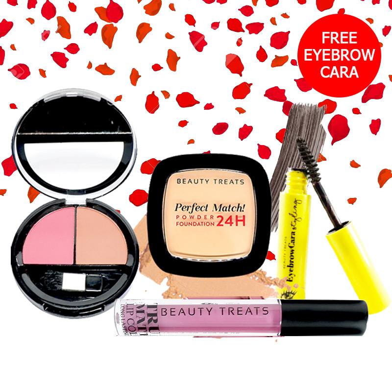 Beauty Treats Make Up Set A (Perfect Match Powder Foundation 24H No. 3 + True Matte Lip Color No. 3 + Duo Blush No. 2) FREE Eyebrowcara Dark Grey Brown
