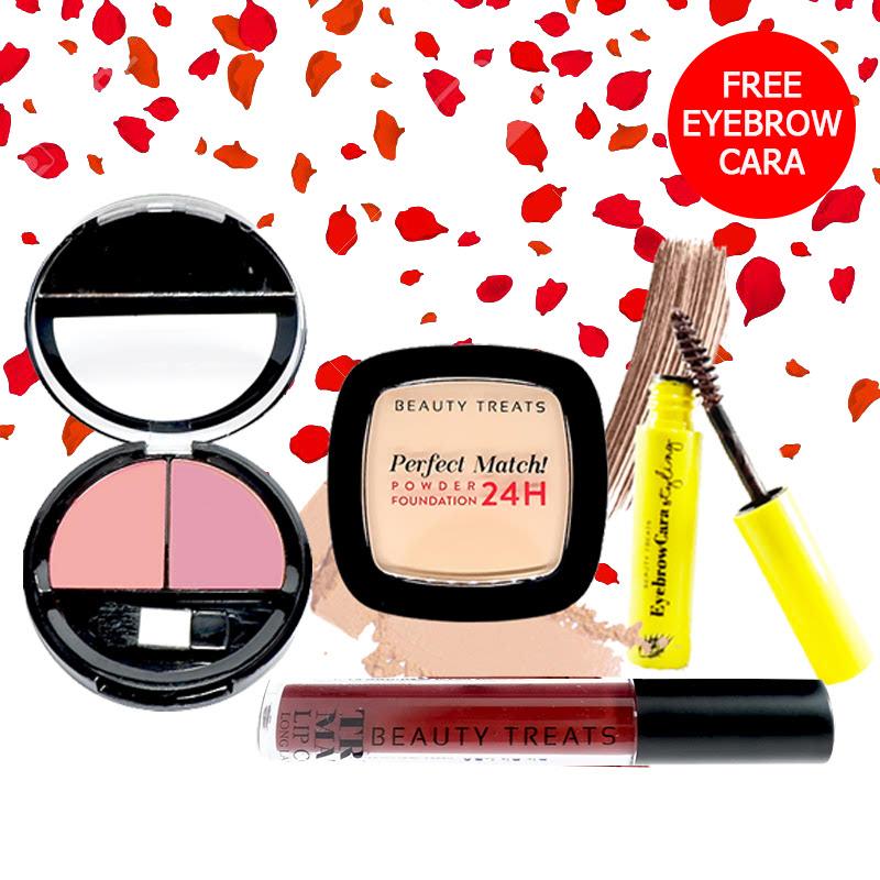 Beauty Treats Make Up Set A (Perfect Match Powder Foundation 24H No. 2 + True Matte Lip Color No. 12 + Duo Blush No. 3) FREE Eyebrowcara Dark Brown