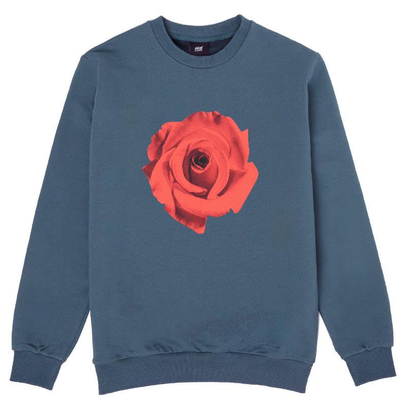 Akiii Classic Flower Man-To-Man Tshirt Series - Rose Indigo Blue