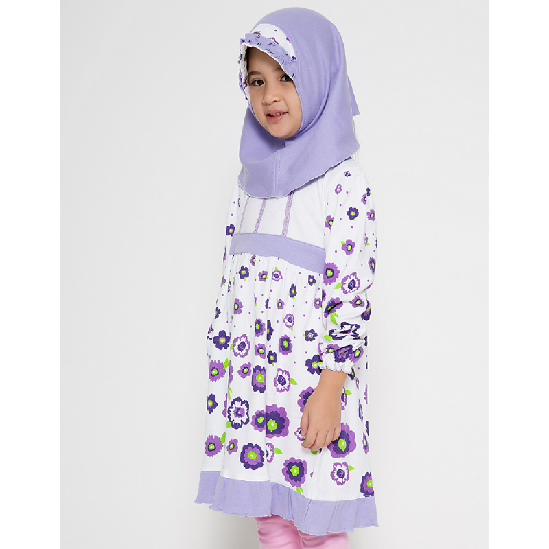 4 You Sweet Flower Moslem Long Dress Ungu