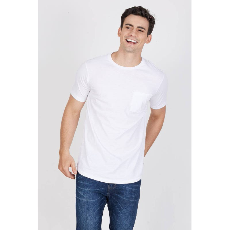 Men Plain Longline Tshirt White