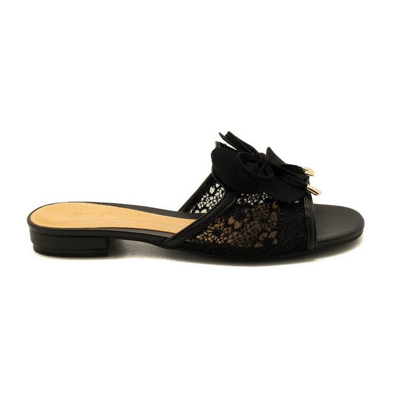 Apple Green Transparent Fleurille Sandals Black