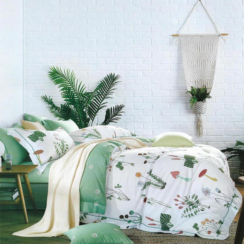 Sleep Buddy Set Sprei dan bed cover Mushroom Garden Cotton Sateen 180x200x30
