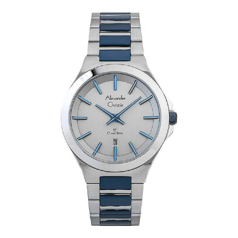 Alexandre Christie Classic Steel AC 8634 MD BTUSL Men Silver Dial Dual Tone Stainless Steel Strap
