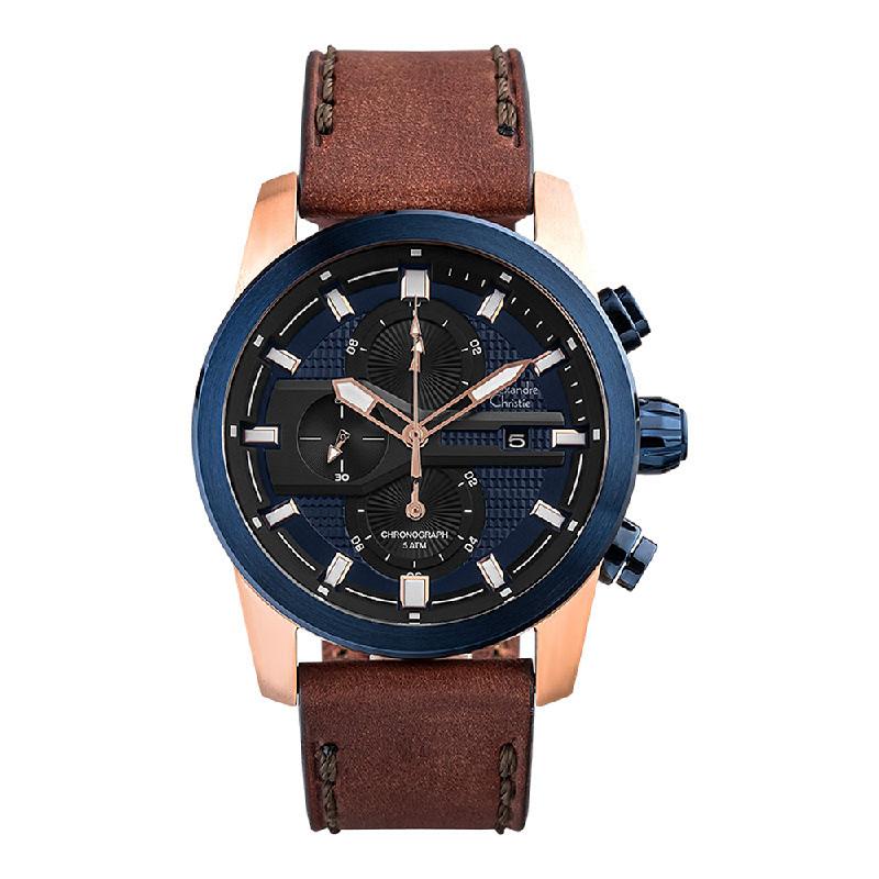 Alexandre Christie AC 6562 MC LURBU Chronograph Men Blue Dial Brown Leather Strap