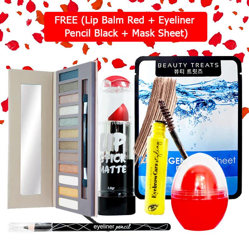 Beauty Treats Make Up Set B (Naked Eyeshadow No. 1 + Lipstick No. 1 + Eyebrowcara Dark Brown) FREE Kiss Me Lip Balm Red + Eyeliner Pencil Black + Mask Sheet Collagen