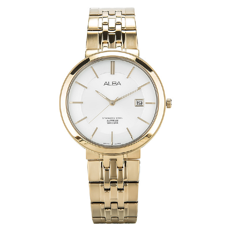 Alba AS9D72X1 Man White Dial Sapphire Crystal Gold Stainless Steel