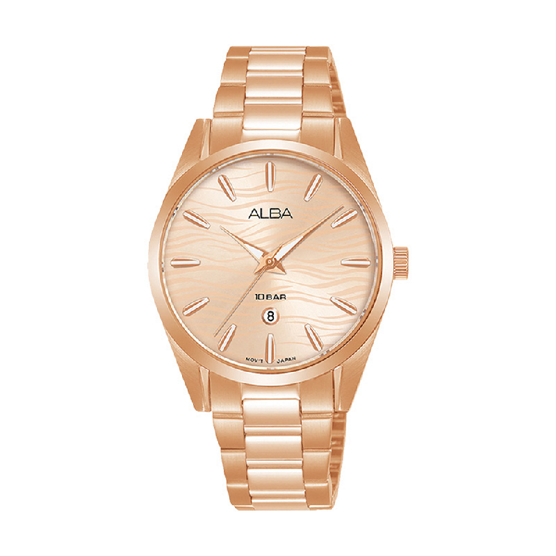 Alba AH7X60X1 Rose Gold Pattern Dial Rose Gold Stainless Steel Strap
