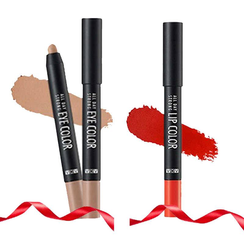 VOV All Day Strong Eye Color BR 802 Nude Fade + All Day Strong Lip Color OR 203 Orange Gangster