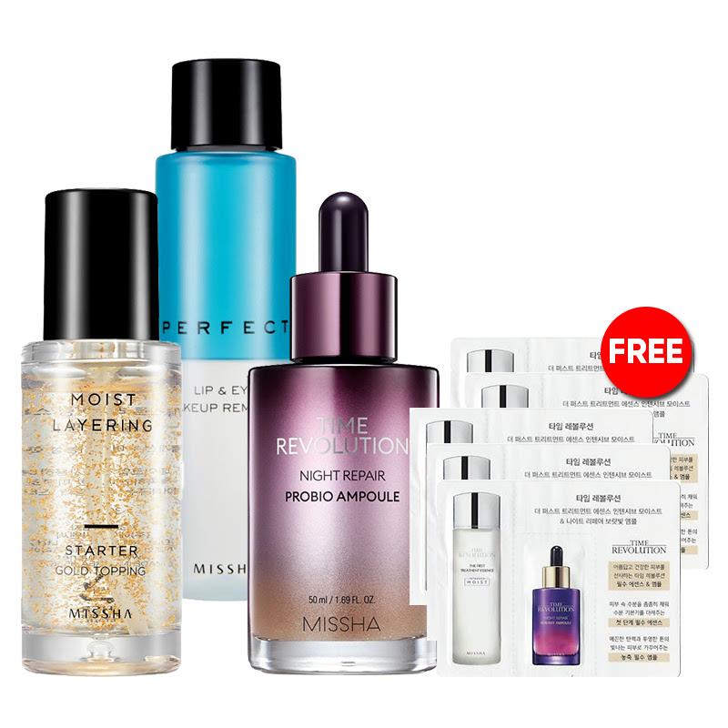 Missha Gold Topping + Perfect Makeup Remover + Ampoule + Free Essence & Ampoule Sachet 5 pcs