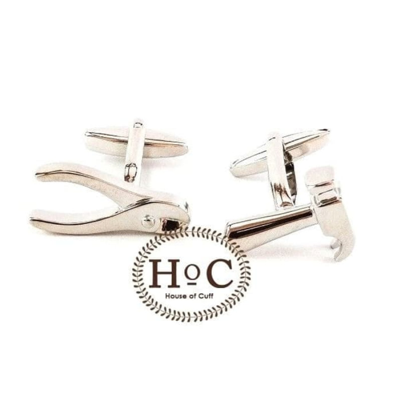 House Of Cuff Cufflinks Manset Kancing Kemeja French Cuff Silver Pliers Hammer