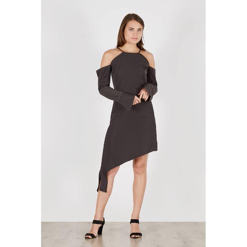 Pele Drop Sleeve Dress Grey