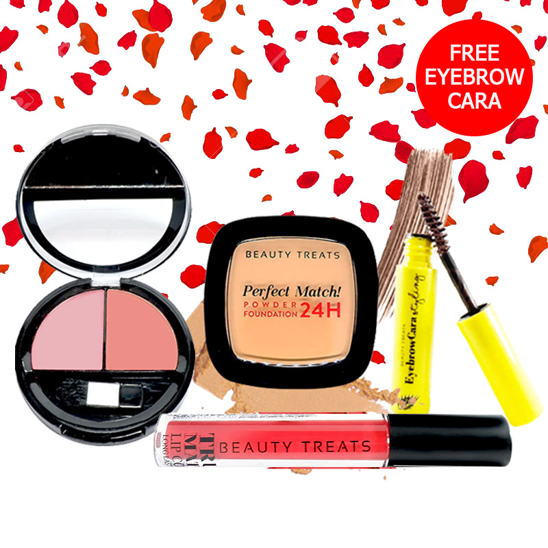 Beauty Treats Make Up Set A (Perfect Match Powder Foundation 24H No. 4 + True Matte Lip Color No. 9 + Duo Blush No. 1) FREE Eyebrowcara Dark Brown