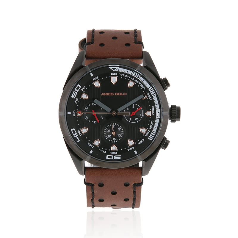 Aries Gold G 7006Z BK-BK Leather Strap Men Watch Brown