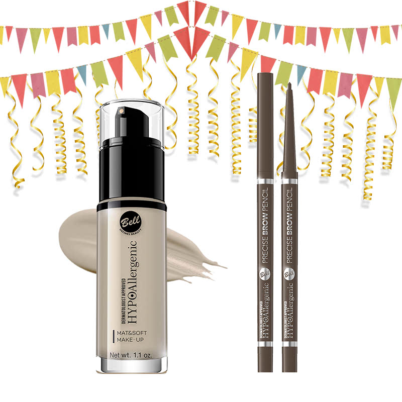 Bell Hypoallergenic Mat&Soft Make-Up 01 Light Beige & Bell Hypoallergenic Precise Brow Pencil 02 Taupe Blonde