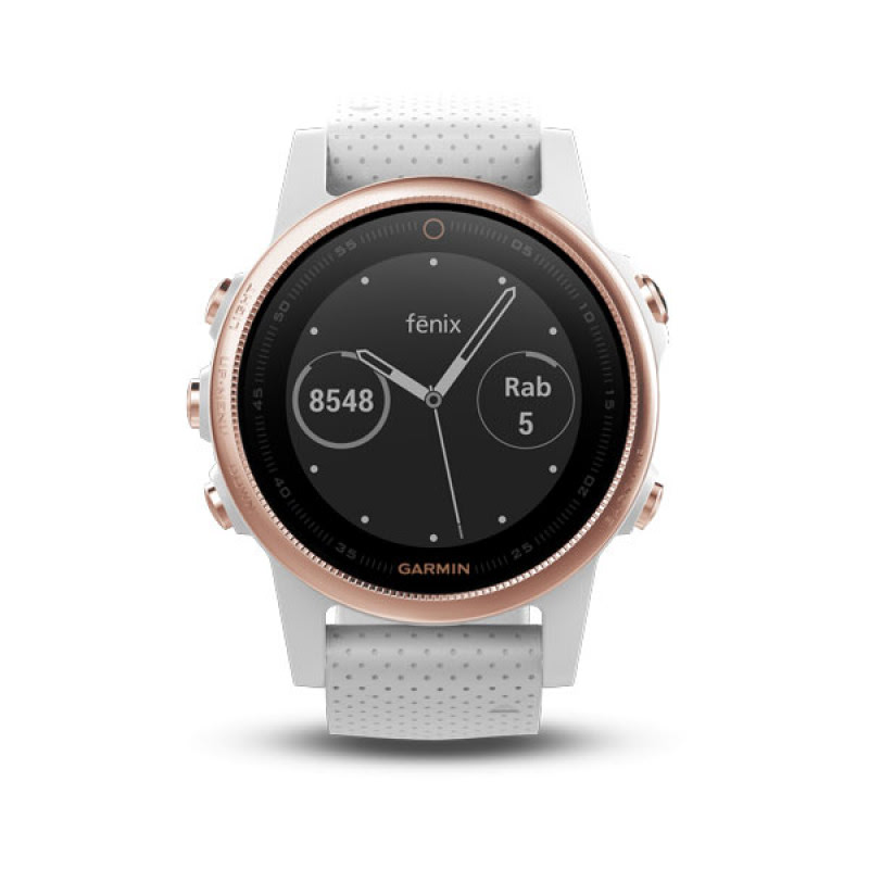 Garmin Fenix 5S, Rose Goldtone Sapphire with white band