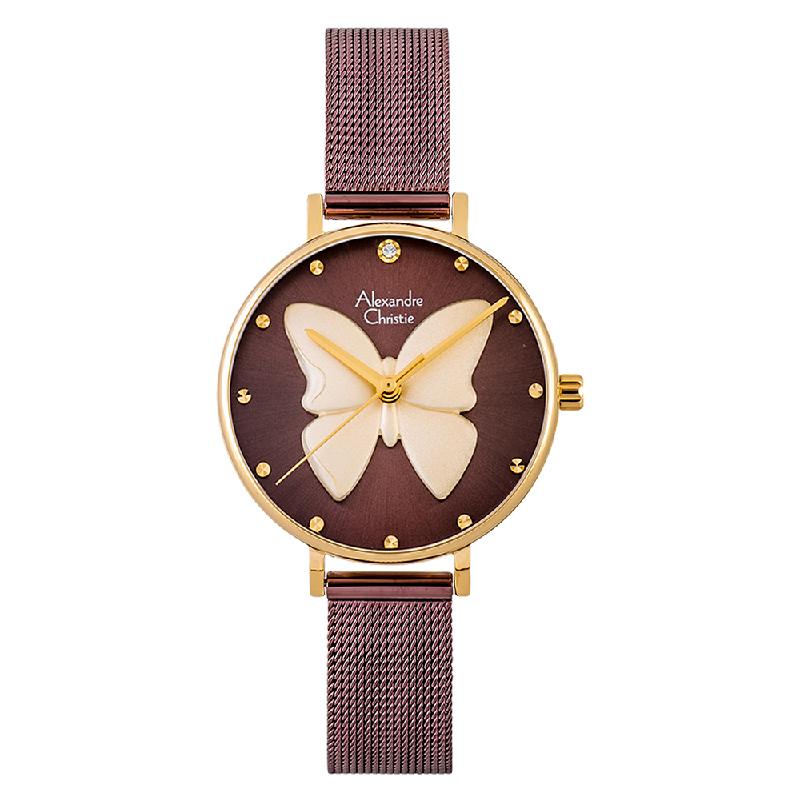 Alexandre Christie AC 2850 LH BGWBO Ladies 3D Butterfly Brown Dial Brown Mesh Strap