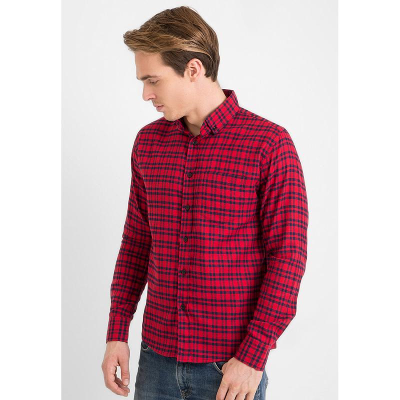 17Seven Men Shirt Flanel Sadiola Red