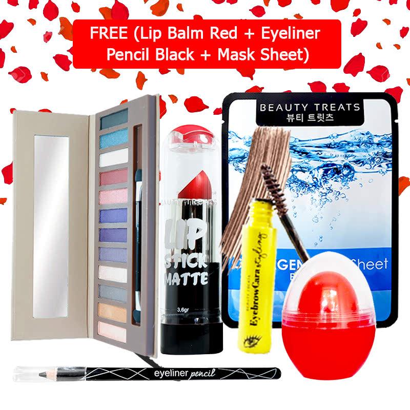 Beauty Treats Make Up Set B (Naked Eyeshadow No. 2 + Lipstick No. 1 + Eyebrowcara Dark Brown) FREE Kiss Me Lip Balm Red + Eyeliner Pencil Black + Mask Sheet Collagen