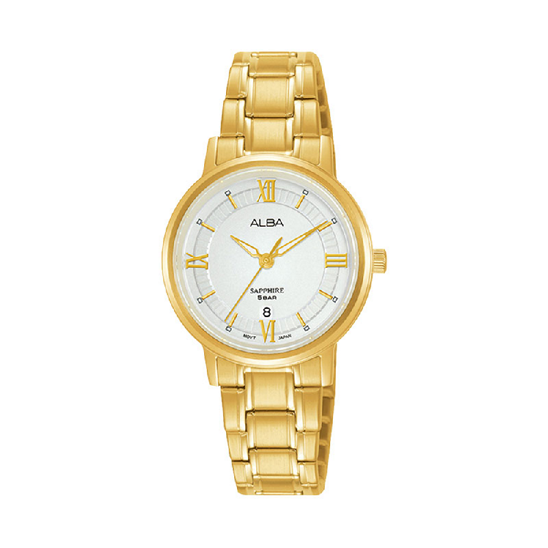 Alba AH7V58X1 Ladies Silver Patterned Dial Gold Stainless Steel Strap