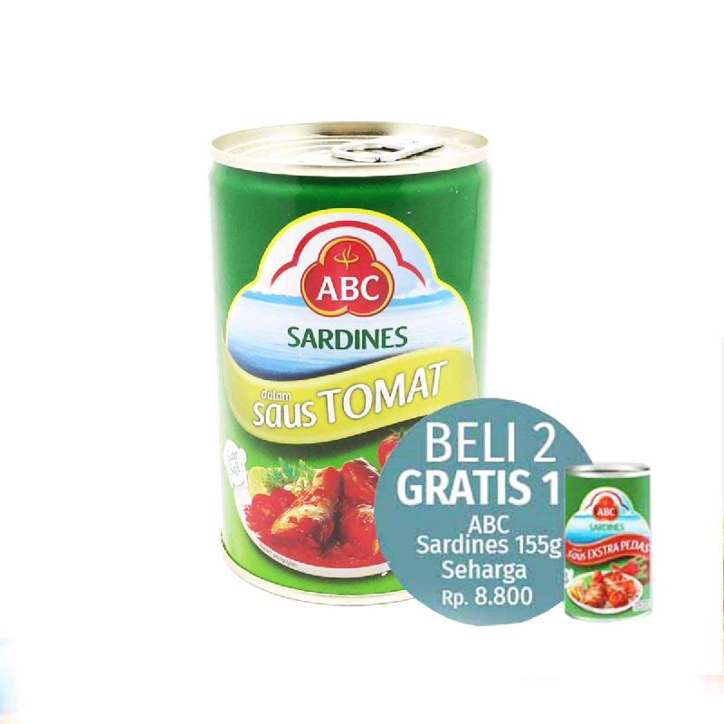 Abc Sardine Tomato 425 Gram (Beli 2 Sardine 425Get 1 Sardine 155G)