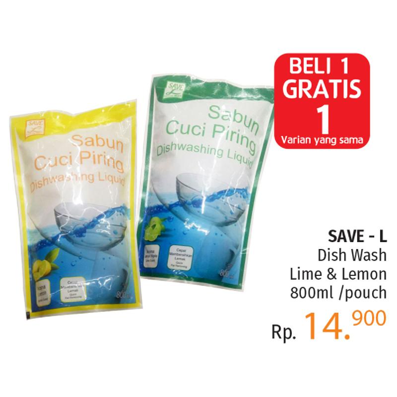 Save L Dishwash Lime 800Ml [Pouch] (BELI 1 GRATIS 1)