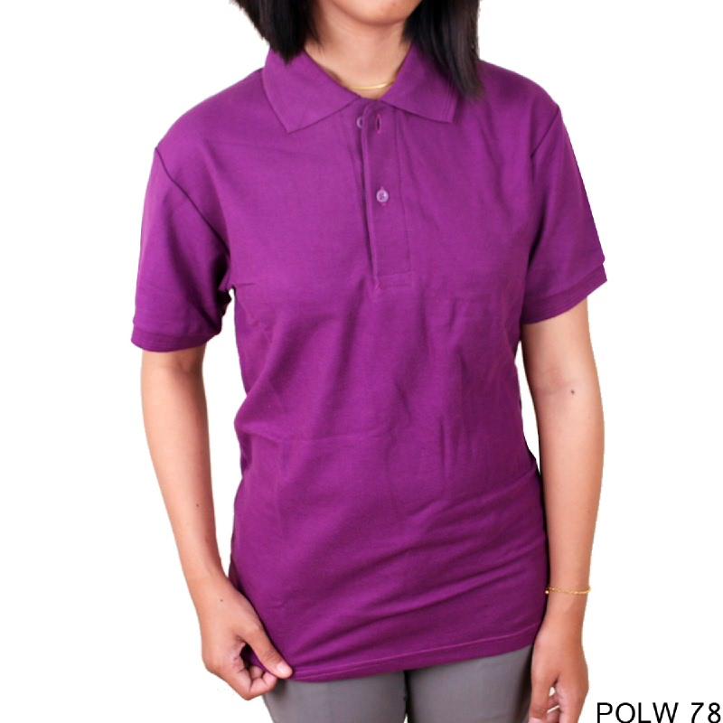 Gudang Fashion Kaos Pendek Polos Berkerah Wanita Cotton Pique Ungu Tua